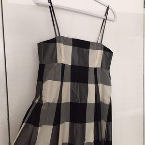 DKNY Silk Gingham Babydoll Dress